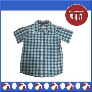 Boys OshKosh B'gosh Light Blue Plaid Short Sleeve